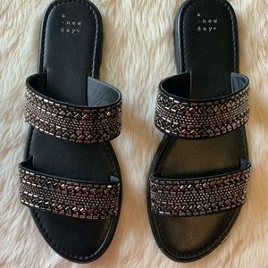 A New Day Black Crystal Studded Flat Sandal